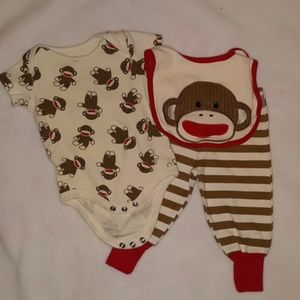 Sock monkey 3 month outfit